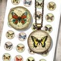 Pillangók kottás háttéren - kör alakú képek ékszerekhez, Papír, Gyöngy, ékszerkellék, Nyomtatható mintaív kör alakú mintákkal, üveglencsés ékszerek készítéséhez.   -Kiváló minőségű, éle..., Alkotók boltja