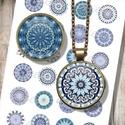 Kék mandalák - nyomtatható ékszerpapír, Gyöngy, ékszerkellék, Üveglencse, Nyomtatható mintaív kör alakú mintákkal, üveglencsés ékszerek készítéséhez.   -Kiváló minőségű, éle..., Alkotók boltja