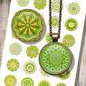 Digitális mintaív - Élénkzöld mandala körök ékszerkészítéshez , Papír, Nyomtatható mintaív kör alakú mintákkal, üveglencsés ékszerek készítéséhez.   -Kiváló minőségű, éle..., Alkotók boltja