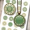 Digitális papír alap ékszerkészítéshez - zöld mandalák , Gyöngy, ékszerkellék, Cabochon, Alkotók boltja