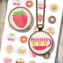 Vintage édességek - nyomtatható ékszerpapír , Papír, Nyomtatható mintaív kör alakú mintákkal, üveglencsés ékszerek készítéséhez.   -Kiváló minőségű, éle..., Alkotók boltja