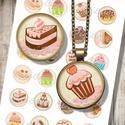 Édességek, sütemények - kör alakú képek ékszerkészítéshez , Papír, Gyöngy, ékszerkellék, Nyomtatható mintaív kör alakú mintákkal, üveglencsés ékszerek készítéséhez.   -Kiváló minőségű, éle..., Alkotók boltja