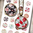 Nyomtatható ékszerpapír - Vintage virágmintás papír alap , Papír, Gyöngy, ékszerkellék, Decoupage, szalvétatechnika, Grafika, fotó, Decoupage minták, Nyomtatható mintaív kör alakú mintákkal, üveglencsés ékszerek készítéséhez.   -Kiváló minőségű, él..., Alkotók boltja