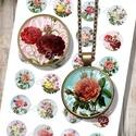 Csipkék és rózsák - nyomtatható képek ékszerkészítéshez , Gyöngy, ékszerkellék, Üveglencse, Nyomtatható mintaív kör alakú mintákkal, üveglencsés ékszerek készítéséhez.   -Kiváló minőségű, éle..., Alkotók boltja