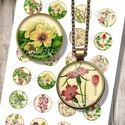 Vintage botanika - Nyomtatható mintaív ékszerkészítéshez , Papír, Gyöngy, ékszerkellék, Nyomtatható mintaív kör alakú mintákkal, üveglencsés ékszerek készítéséhez.   -Kiváló minőségű, éle..., Alkotók boltja