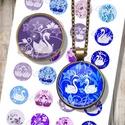 Nyomtatható ékszerpapír - Hattyúk és virágok , Gyöngy, ékszerkellék, Papír, Nyomtatható mintaív kör alakú mintákkal, üveglencsés ékszerek készítéséhez.   -Kiváló minőségű, éle..., Alkotók boltja