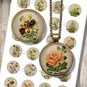 Digitális ékszerpapír - kerti virágok , Papír, Grafika, fotó, Nyomtatható mintaív kör alakú mintákkal, üveglencsés ékszerek készítéséhez.   -Kiváló minőségű, él..., Alkotók boltja