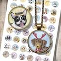 Karácsonyi kutyusok - Nyomtatható mintaív ékszerkészítéshez , Gyöngy, ékszerkellék, Cabochon, Alkotók boltja