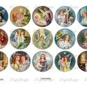 Digitális papír alap ékszerkészítéshez - karácsonyi angyalok  , Gyöngy, ékszerkellék, Cabochon, Alkotók boltja