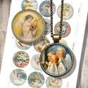 Karácsonyi angyalok régi képeslapokról - nyomtatható papír alap ékszerkészítéshez , Nyomtatható mintaív kör alakú mintákkal, üve...