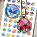 Nyomtatható ékszerpapír - Színes pillangók , Papír, Gyöngy, ékszerkellék, Nyomtatható mintaív kör alakú mintákkal, üveglencsés ékszerek készítéséhez.   -Kiváló minőségű, éle..., Alkotók boltja