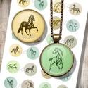Nyomtatható ékszerpapír lovas motívumokkal , Papír, Grafika, fotó, Nyomtatható mintaív kör alakú mintákkal, üveglencsés ékszerek készítéséhez.   -Kiváló minőségű, él..., Alkotók boltja