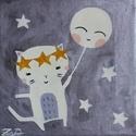 Cica hold lufival festmény - lány gyerekszoba dekoráció, Baba-mama-gyerek, Dekoráció, Gyerekszoba, Baba falikép, Festészet, Fotó, grafika, rajz, illusztráció, 20x20 cm-es akril festményem egy kedves kiscicát ábrázol, aki egy mosolygos lufival (vagy inkább a ..., Meska