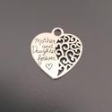 Anya - lánya medál (szív), Dekorációs kellékek, Ékszerkészítés, Mother and Doughter medál Ezüst színű, díszes szív alakú medál.   Méret: 28 x 30 mm  Nyakláncok gyö..., Alkotók boltja