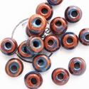 AK 3 100, Gyöngy, ékszerkellék, Kerámiagyöngy, Gyürűalakú kék barna kerámiagyöngy. Méret:19mm. Furat:6mm., Alkotók boltja