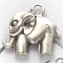 X 2521, Gyöngy, ékszerkellék, Fém köztesek, Ezüst borítású fém elefánt medál, köztes. Méret:30x28mm., Alkotók boltja