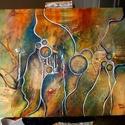 Feszített vászonkép, akrill technikával készítve, 65x80 cm, , Festett tárgyak, festészet, Egyedi absztrakt akrillfestmény, 65x80 cm., Alkotók boltja