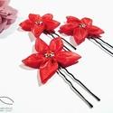 Virágos hajtű - piros, Esküvő, Hajdísz, ruhadísz, Ékszerkészítés, Varrás, Piros organza felhasználásával készült ez a kis virágos hajdísz, amely igazán elegáns dísze lehet f..., Meska