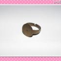 4 db Gyűrű alap 15 mm bronz színű, Gyűrű alap 15 mm széles lappal bronz színben, ...