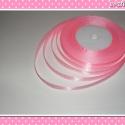 10 méter Szatén szalag 9 mm  rózsaszín-fehér pöttyös, Rózsaszín-fehér színű szatén szalag.  Az ár...
