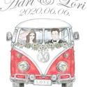 Egyedi Esküvői nászajándék párna névvel és dátummal, Retro Volkswagen Buszos Emlékpárna személyre szóló, esküvői ajándék, Esküvő, Gyűrűpárna, Nászajándék, Papírművészet, Fotó, grafika, rajz, illusztráció, Egyedi felirattal - NÉV & DÁTUM - készül! Ennek a párnának van EGYOLDALAS (Busz csak  elölről vagy ..., Meska