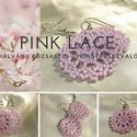 Pink lace - halvány rózsaszín kerek gyöngy fülbevaló, Ékszer, Fülbevaló, Ékszerkészítés, Gyöngyfűzés, Matt rózsaszín, 11/0 japán kásagyöngyökből fűzött kerek, csipkemintás fülbevaló.  - Átmérője 3 cm. ..., Meska