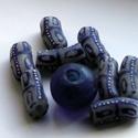 Ghánai Krobo üveggyöngyök, Gyöngy, ékszerkellék, Üveggyöngy, Ékszerkészítés, Üvegművészet, Gyöngy, Kézzel készített, ghánai Krobo üveggyöngyök. A csomag tartalmaz 8 db hosszúkás gyöngyöt,+ 1 matt ké..., Alkotók boltja