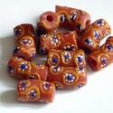 Ghánai Krobo üveggyöngyök, Gyöngy, ékszerkellék, Üveggyöngy, Ékszerkészítés, Üvegművészet, Gyöngy, Kézzel készített,narancsszínű ghánai Krobo üveggyöngyök. 10 db/csomag méret:  18 mm hosszú, átmérőj..., Alkotók boltja