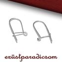 925 valódi ezüst FÜLBEVALÓ AKASZTÓ biztonsági kapcsos; B259 - sterling ezüst fülbevaló kapocs, Gyöngy, ékszerkellék, Ékszerkészítés, Fémmegmunkálás, ötvösség, Szerelékek, 925-ös ezüst biztonsági kapcsos fülbevaló akasztó vagy sterling ezüst fülbevalóakasztó  A méretek é..., Alkotók boltja