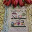 Keresztszemes minta / Cross stitch pattern, DIY (leírások), Szabásminta, útmutató, Hímzés, Mindenmás, Egyedi tervezésű keresztszemes minta. Anyag: 36 count hand dyed linen by xJudesign named Little Lam..., Alkotók boltja