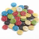 PÖTTYÖS színes műanyag gombok - 15mm, 100 db, Gomb, Műanyag gomb, Vidám, pöttyös, műanyag 2 lyukú gombok. Egyik oldaluk fehér, másik pöttyös. Színük: piros, sárga, fe..., Alkotók boltja