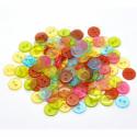 11 mm-es élénk színű átlátszó műanyag gombok - 30 db, Gomb, Műanyag gomb, Műanyag 2 lyukú átlátszó gombok a képen látható gyönyörű, élénk színekben.  Métere: 11 mm  A csomag ..., Alkotók boltja