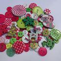 KARÁCSONYI gombcsomag ZÖLD-PIROS színben 100 db, Gomb, Műanyag gomb, Varrás, Famegmunkálás, Gomb, KARÁCSONYI gombcsomag zöld és piros színben. A csomag 100 db gombot tartalmaz. A gombok méretei: 9m..., Alkotók boltja