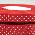Piros alapon fehér pöttyös szatén szalag, Textil, Szalag, pánt, Eladó a képen látható piros alapon fehér pöttyös szatén szalag-csak az egyik oldalán pöttyös. A term..., Alkotók boltja