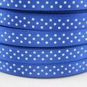 Kék alapon fehér pöttyös szatén szalag, Textil, Szalag, pánt, Mindenmás, Virágkötészet, Eladó a képen látható kék alapon fehér pöttyös szatén szalag-csak az egyik oldalán pöttyös. A termé..., Alkotók boltja