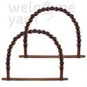 Táskafül fa gyöngyökkel, Dekorációs kellékek, Egyéb kellékek, Kötés, horgolás, Szélessége 19 cm, magassága 17 cm.  Az ár egy pár táskafülre vonatkozik., Alkotók boltja