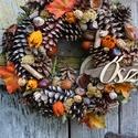 Barna-rancs őszi( nagy méret) ajtódísz,koszorú,kopogtató, Otthon & lakás, Dekoráció, Dísz, Lakberendezés, Ajtódísz, kopogtató, Virágkötés, őszi lakásdekoráció méret 38cm, Meska