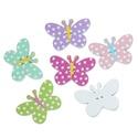 Pöttyös pillangó formájú fa gomb vegyes színekben, Gomb, Dekorációs kellékek, Pöttyös pillangó formájú fa gomb vegyes színekben Mérete: 25 mm x 17 mm 10 db/csomag Ára: 34..., Alkotók boltja