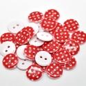 AKCIÓ! 50 db piros alapon fehér pöttyös 15 mm-es műanyag kerek gomb, Dekorációs kellékek, Gomb, Alkotók boltja
