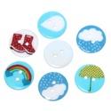 Időjárásos műanyag gomb 20 mm , Dekorációs kellékek, Gomb, Időjárásos műanyag gomb 5 féle mintával: csizma, esernyő, esőcsepp, havazás, szivárvány. ..., Alkotók boltja