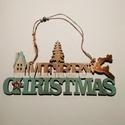 Merry Christmas felirat, Dekorációs kellékek, Fa, Fából készült, festett karácsonyi felirat. Anyaga rétegelt lemez.  Mérete:28*14cm, Alkotók boltja