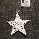 Rattan csillag, fehér, Dekorációs kellékek, Figurák, Fehér rattan csillag, karácsonyi dekorációhoz, akasztós. Átmérője:10 cm, Alkotók boltja