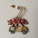 Fa autó, barna, Dekorációs kellékek, Figurák, Mindenmás, Karácsonyi kis autó fából, akasztóval, dekorációs célra. 6*4,5cm, Alkotók boltja