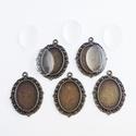Medál alap + üveglencse - Ovális - Bronz színű - 5 db, Gyöngy, ékszerkellék, Üveglencse, Medál alap + üveglencse - ovális - antik bronz színű - 5 db  Mérete: 39x27 mm, a beleillő üv..., Alkotók boltja