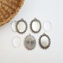 Medál alap + üveglencse - Ovális - Ezüst színű - 4 db, Gyöngy, ékszerkellék, Üveglencse, , Alkotók boltja