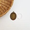 Medál alap + üveglencse - Ovális - Bronz színű - 1 db, Gyöngy, ékszerkellék, Üveglencse, Ékszerkészítés, Medál alap + üveglencse - ovális - bronz színű - 1 db  Mérete: 39x27 mm, a beleillő üveg lencse mér..., Alkotók boltja