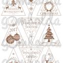 Mintás filc fenyődísz sablon - boldog karácsonyt - barna, Textil, Filc, Karácsonyi motívumokkal/feliratokkal díszített, fehér alapon barna mintás barkácsfilc.  A sablonokat..., Alkotók boltja