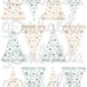 Mintás filc fenyődísz sablon - csillagos - barna kék, Textil, Filc, Karácsonyi felirattal díszített, fehér alapon színes mintás barkácsfilc.  A sablonokat kivágva, össz..., Alkotók boltja