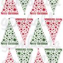 Mintás filc fenyődísz sablon - csillagos - piros zöld, Textil, Filc, Karácsonyi felirattal díszített, fehér alapon színes mintás barkácsfilc.  A sablonokat kivágva, össz..., Alkotók boltja