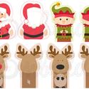Mintás barkácsfilc - karácsonyi ujjbábok - Mikulással, Textil, Filc, Fehér alapon színes karácsonyi mintás filc anyag. A mintákat egyszerűen kivágva, összevarrva, vidám ..., Alkotók boltja